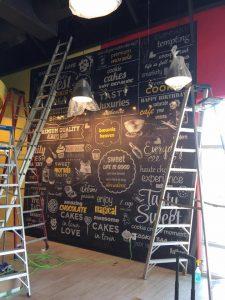 Bar Signs vinyl wall mural indoor install 225x300