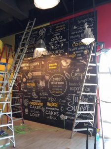 custom vinyl wall mural install